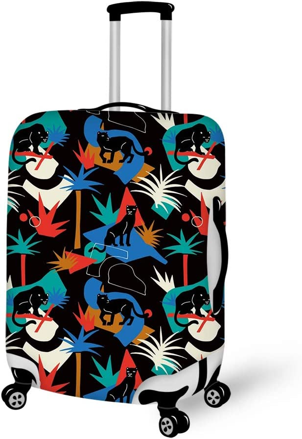 Washable Foldable Luggage Cover Protector Fits 18-21Inch Suitcase Covers Black Panther In The Jungle Wild Animals
