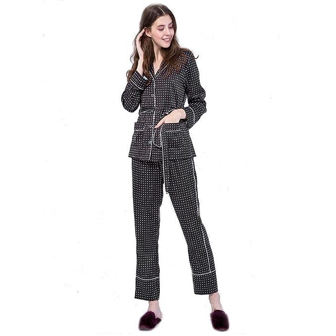 SQINAA Pijama conjunto patrón de la mujer de estrellas,Manga larga ropa de dormir botón