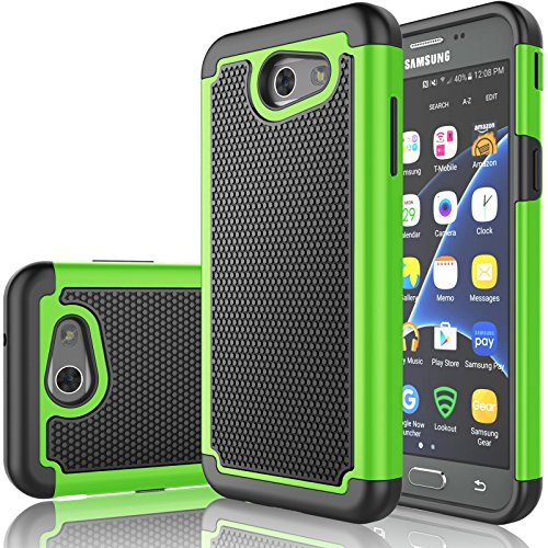 Tekcoo J3 Emerge/J3 Prime Case,Tekcoo Samsung Galaxy J3 Luna Pro/J3 Mission/J3 Eclipse/Amp Prime 2/Express Prime 2 Case,[Tmajor] Shock Absorbing [Green] Rubber Plastic Sturdy Hard Cover