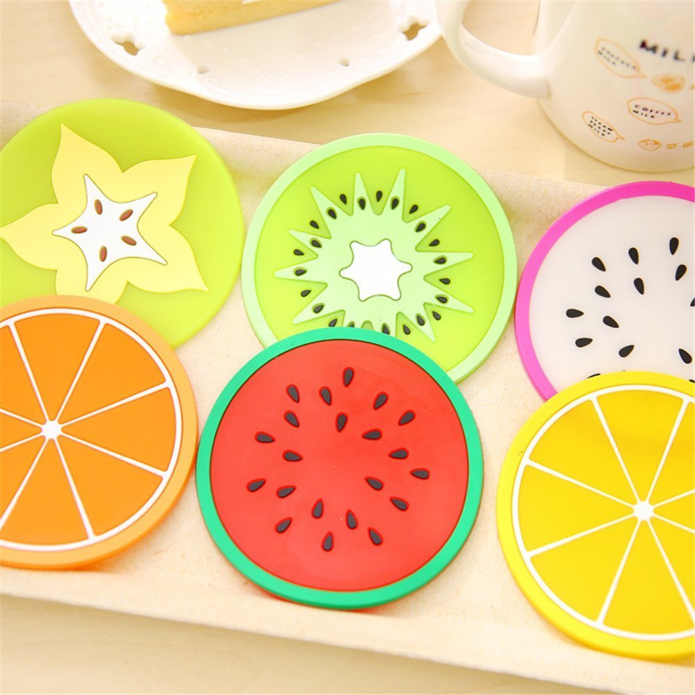 9*9 CM Leisial 6 pcs Fruit Coaster PVC Material Heat Resistant Bowl Mat Heat Insulation Slice Cup for Hot Beverages Cold Drinks Coffee Tea