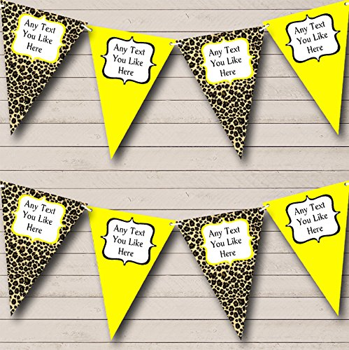 Leopard Print And Yellow Personalized Birthday Party Bunting Banner Garland ()