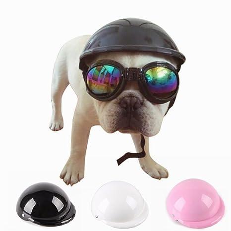 LA VIE Cosplay Casco Moda de ABS para Mascotas Perros Pequeños con un Forro Extraíble Cómodo Casco de Moto Casco de Seguridad para Perritos Gatos Sombrero ...