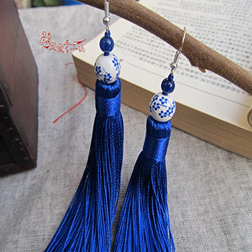 Porcelain Clip Earrings (Favorite original handmade earrings classical Chinese style blue and white porcelain earrings tassel earrings no pierced ear clip)
