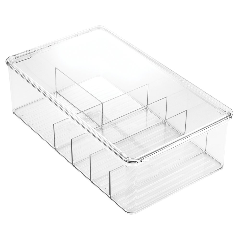 InterDesign Clarity Lipstick and Cosmetic Organizer with Lid for Vanity Cabinet to Hold Makeup, Beauty Products - Clear Inc. 39530