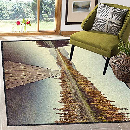 Fall Non-Slip Area Rug Pad,Wooden Pier on The Lake Serene Morning in The Woods Fishing Misty Recreational Image for Residential or Commercial Use Multicolor 59