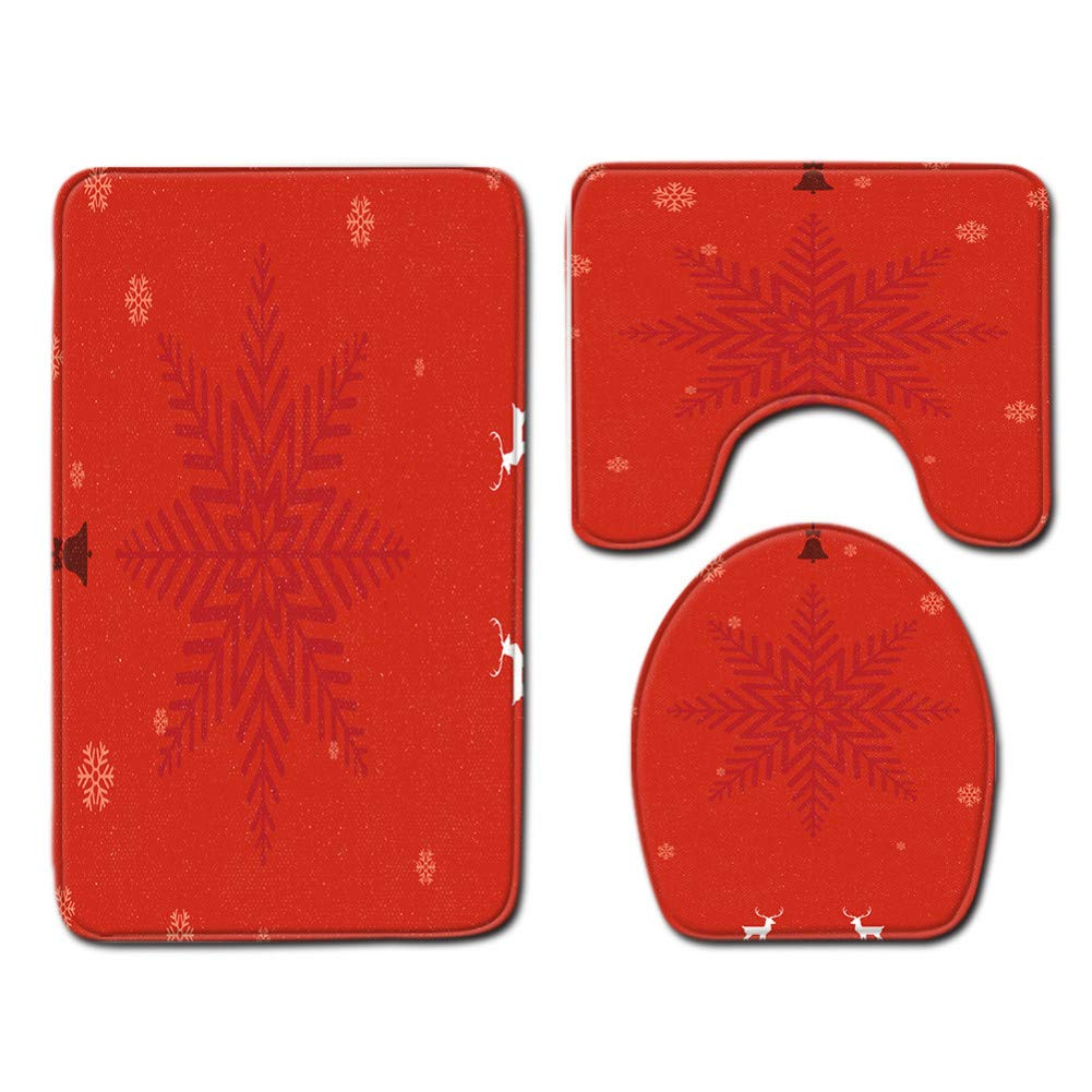 ZHENGXIANGA Christmas Toilet Three-Piece Floor Mat Door Mat Bathroom Carpet Mat by ZHENGXIANGA