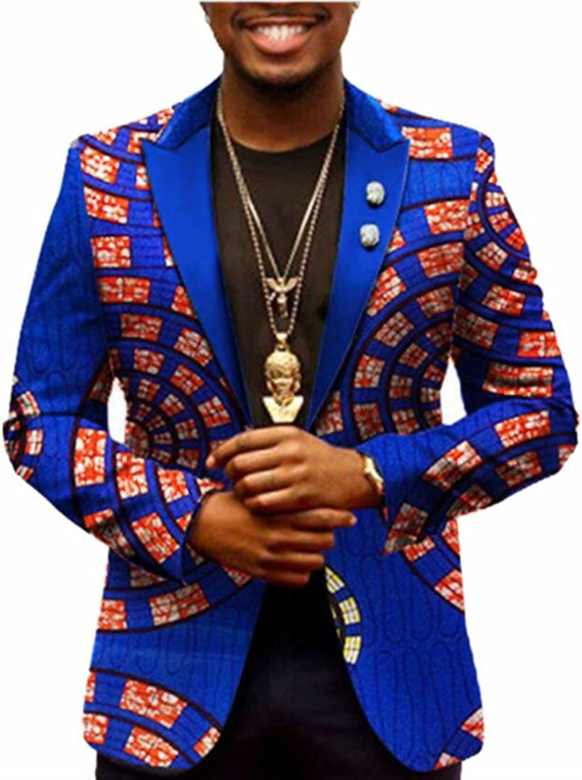 WSPLYSPJY Mens Traditional African Print One Button Suit Slim Blazer Jacket