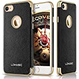 "iPhone 7 Case, LOHASIC Premium Leather Flexible Soft Bumper Cover [Slim Body] [Luxury New Textured] Non Slip Excellent Protection Drops and Impacts Cases for iPhone 7 - [Black, 4.7""]"