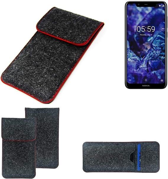 K-S-Trade Funda Protectora De Fieltro Compatible con Nokia 5.1 Plus Estuche Bolsa Bolsillo Carcasa Cubierta Gris Oscuro Borde Rojo: Amazon.es: Electrónica