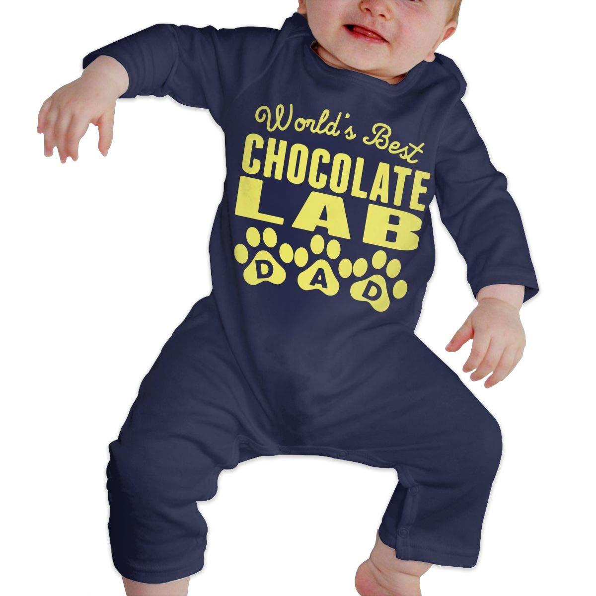 Worlds Best Chocolate Lab Dad Newborn Toddler Baby Sleep and Play Romper Jumpsuit