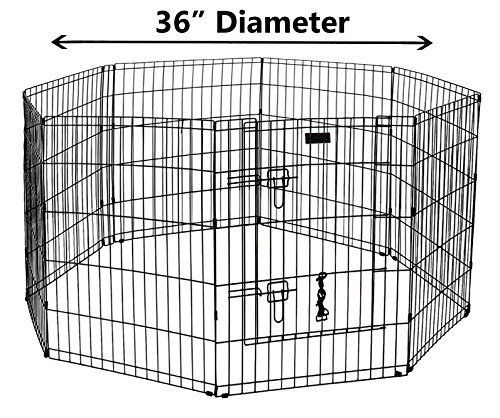 Black Pen Ultimate Exercise (Ultimate Folding Dog Animal Pet Playpen Wire Metal 8 Panel Octagon Black Wire Enclosure Fence Exercise Popup Kennel Crate Tent Portable Gate Cage (Large 36