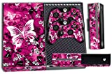 Designer Skin Sticker for the Xbox One Console With Two Wireless Controller Decals Pink Butterflies
