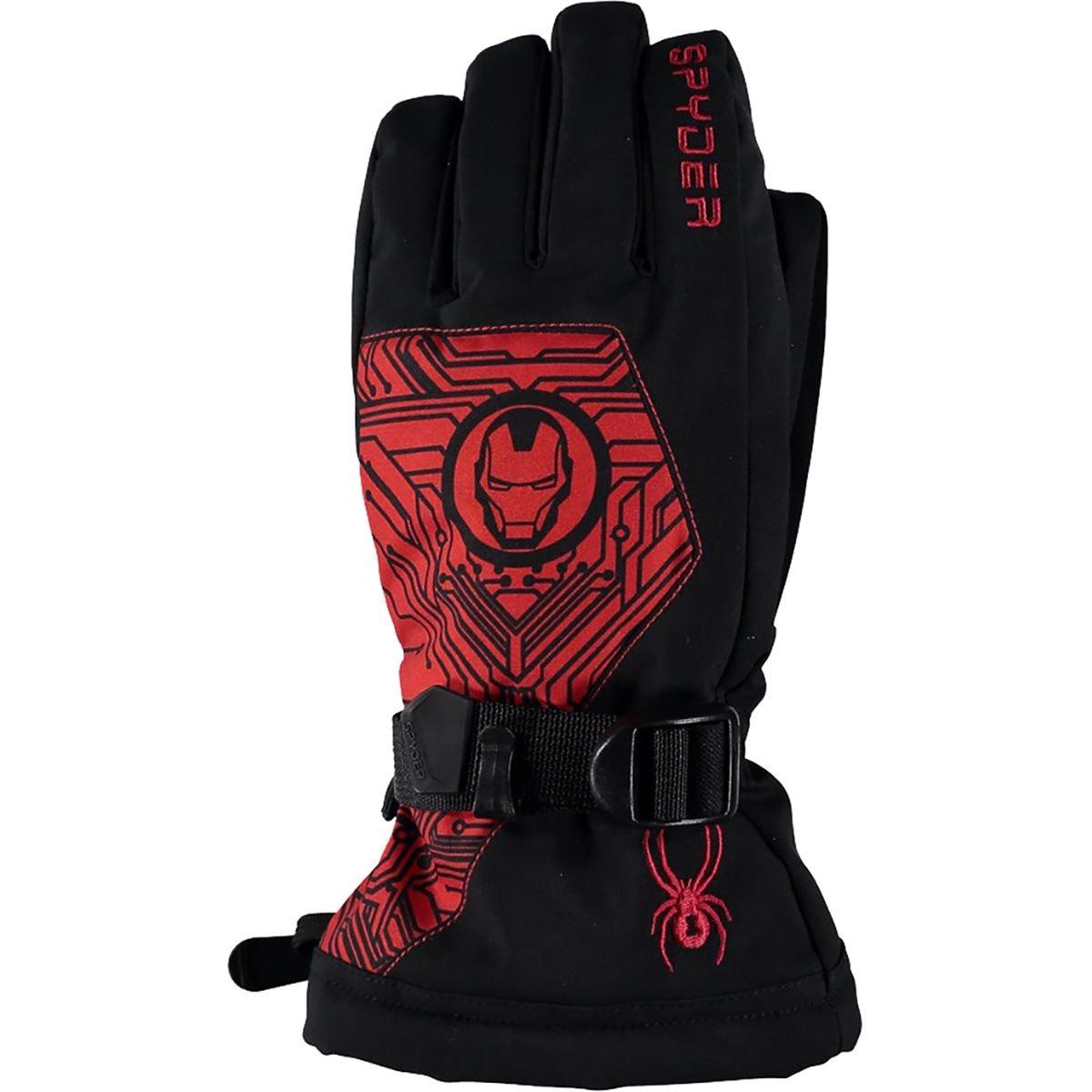 Spyder Boy's Marvel Overweb Ski Glove, Black/Ironman, Large