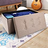 "epeanhome Storage Ottoman,Folding Storage Bench, Linen-like Fabric Foldable Stool Thickening Sponge and 6 Buttons Design for Livingroom 29 7/8"" Beige"