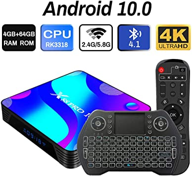 Android 10.0 TV Box 4GB 64GB Decodificador Smart TV Box RK3318 USB 3.0 1080P ultra HD 4K HDR WiFi 2.4GHz 5.8GHz BT 4.1 Reproductor Multimedia de Transmisión con Mini Teclado Inalámbrico Retroiluminado: