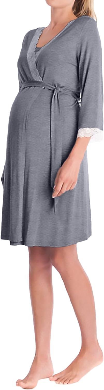 Batas Mujer Premama Camison Elegantes V Cuello Manga 3/4 Encaje Splicing Embarazo Albornoz Pijama Ropa De Dormir con Cinturón