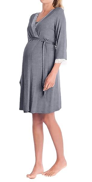 Saoye Fashion Batas Mujer Premama Camison Elegantes V Cuello Manga 3/4 Encaje Niñas Ropa Splicing Embarazo Albornoz Pijama De Dormir con Cinturón: ...