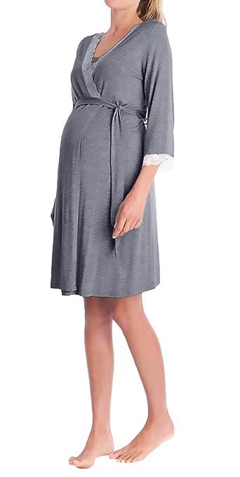 BOLAWOO Batas Mujer Premama Camison Elegantes V Cuello Manga 3/4 Encaje Splicing Embarazo Albornoz Pijama Ropa De Dormir con Cinturón: Amazon.es: Ropa y ...