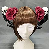 Gothic Lolita Devil Horns Headwear Skull Hairpin Black Rose Bow Claw Steampunk Girl Halloween Cosplay Hair Clip (C)