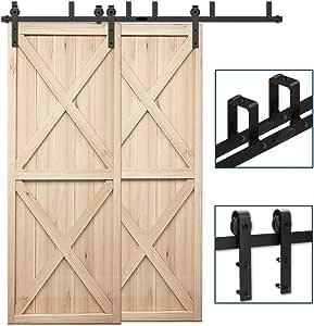 Low Ceiling L-Shape Bracket System Basic Style Fit 54 Wide Single Door Panel CCJH 9FT Ceiling Mount Bracket Sliding Barn Door Hardware Kit Black,Strong Bearing