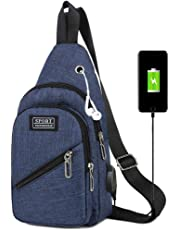 Men's Chest Bag, Sling Bags with USB Charging Port Casual Outdoor Sports Shoulder Backpack Crossbody Bags (Dark Blue)