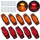 Justech 10 Pcs 2LEDs Side Marker Lights Side Fender Marker Waterproof LED Side Lamps 12V 24V for Trailer Van Caravan Truck Lorry Car Bus Amber+Red