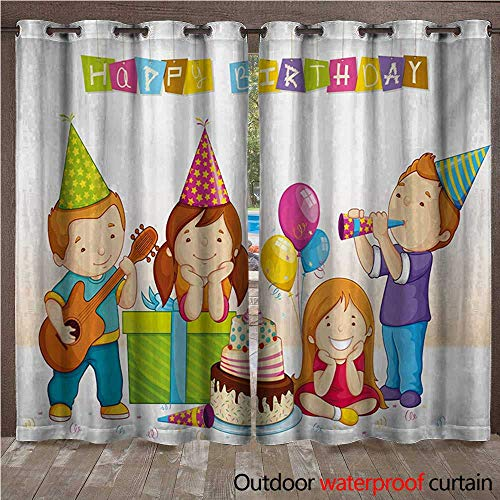 WilliamsDecor Kids Birthday Outdoor Ultraviolet Protective Curtains Colorful Kindergarten Party Cone Hats Cake Boxes Music Celebration Print W96 x L96(245cm x 245cm) ()