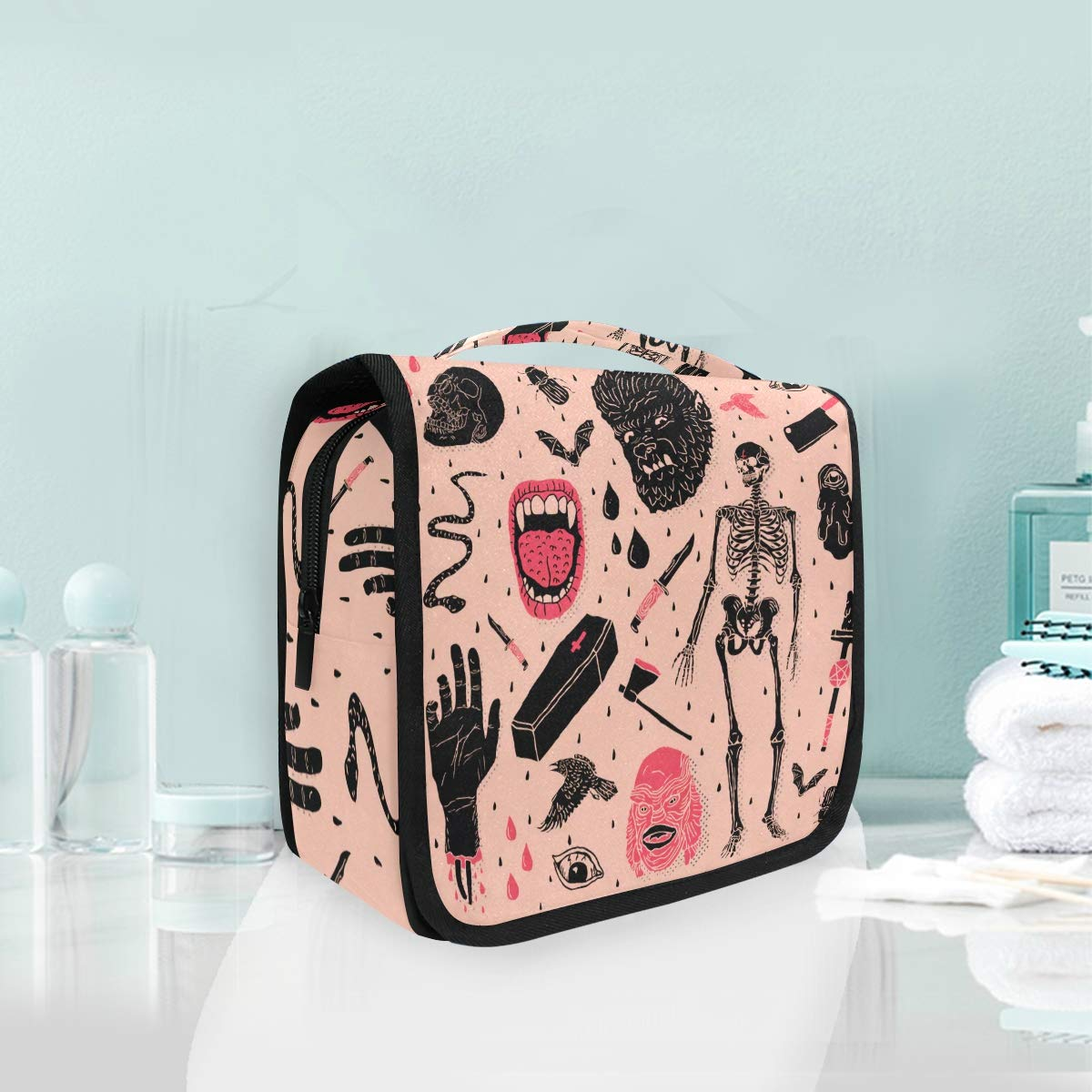 Cosmetic Makeup Toiletry Bag Travel Halloween Horror Skull Hanging