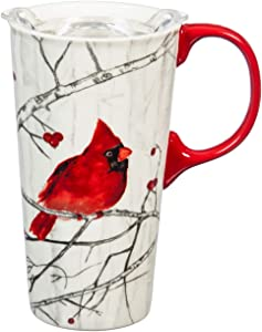 Cypress Home Beautiful Perching Cardinal Ceramic Travel Cup with Tritan Lid and Matching Box - 4 x 5 x 7 Inches Indoor/Outdoor home goods For Kitchens, Parties and Homes