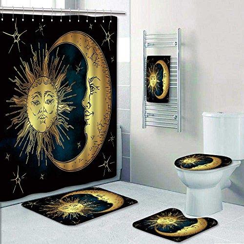 (Printsonne Designer Bath Polyester 5-Piece Bathroom Set, Antique style hand drawn art golden sun,crescent moon and stars over blue black sky Shower curtain/toilet seat/bath towel)