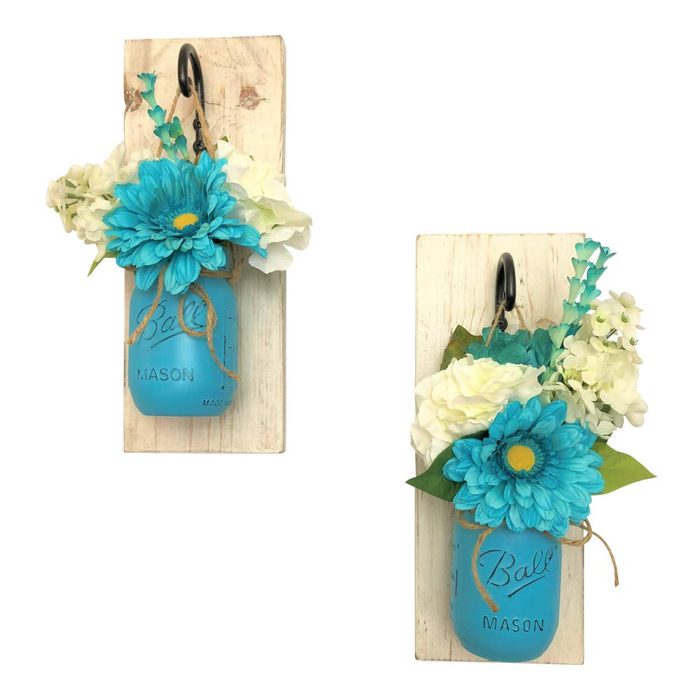 Set of 2 Splash of Teal Mason Jar Wall Sconces Floral Arrangements
