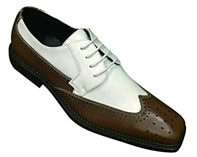Men Man-made Leather Dress Shoes 2tone Color Wingtip Oxford Lace Up
