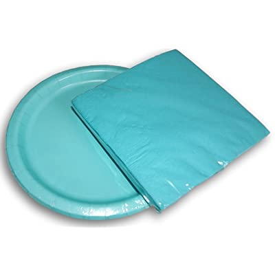 Birthday Party Supply Kit Terrific Teal - Napkins Plates: Toys & Games