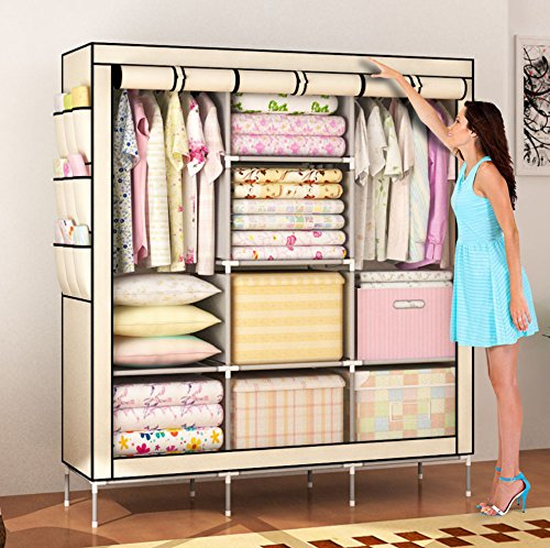 Amanda Home Portable Clothes Closet Non-woven Fabric Wardrobe Storage Organizer (Color: Beige - 51 length x 18 width x 69)