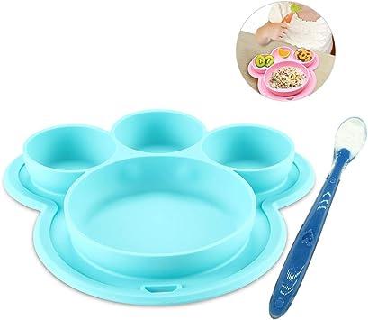 Farbe Blau Baby-Kinder-Teller mit Bär Platzset Tischset aus Silikon