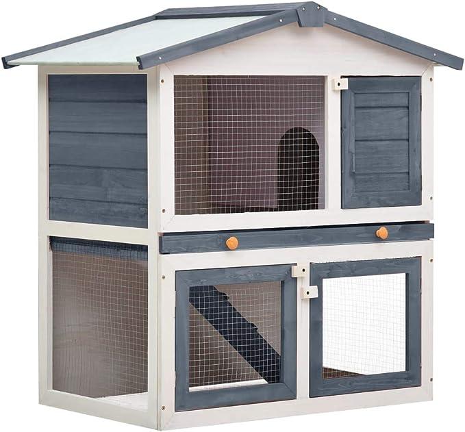 vidaXL Madera Jaula Conejera con 3 Puerta Casita Caseta de Animales Pequeños Mascotas Gallinero Protección Refugio Impermeable Gris