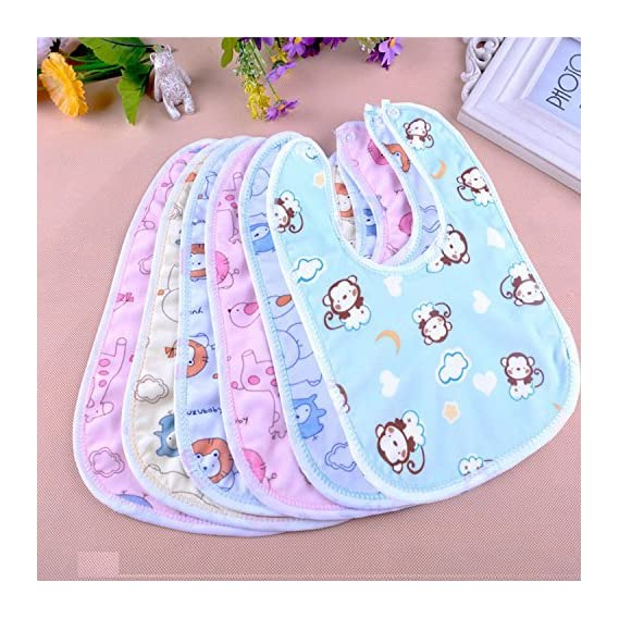 Tinny Tots Baby Waterproof Feeding Bibs Apron for Babies Girls Boys Drool bips with Snaps Set Combo Pack of 6 (Free one