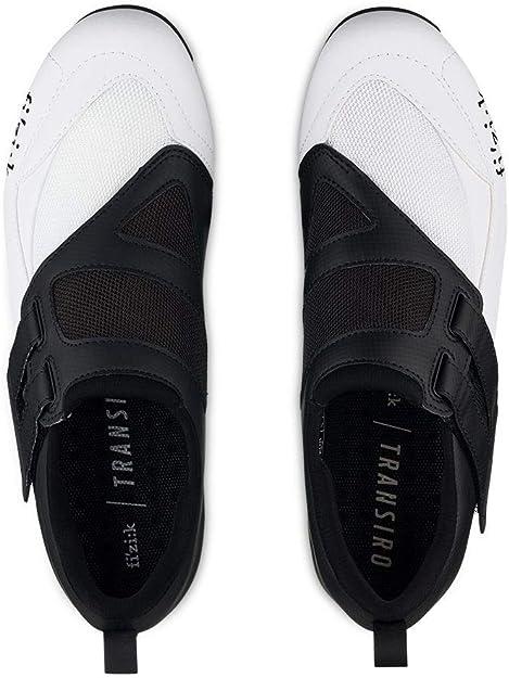 Fizik Men's Transiro Powerstrap R4 Triathlon Cycling Shoes - Black/White (Black/White - 44.5)
