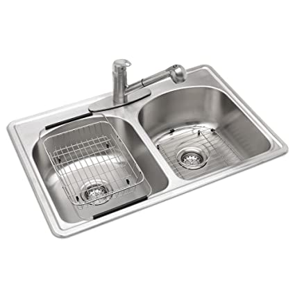 all in one top mount stainless steel 33 in 3 hole double bowl rh amazon com all in one kitchen sink and worktop kohler all in one kitchen sink