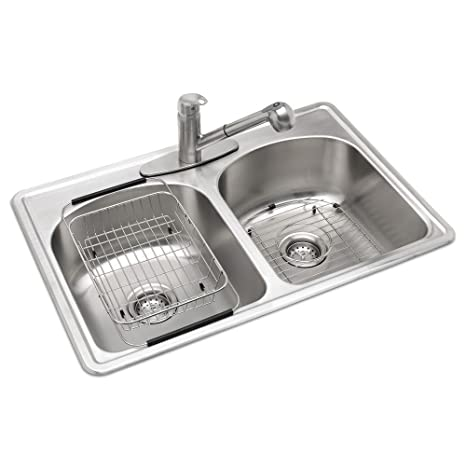 All-in-One Top Mount Stainless Steel 33 in. 3-Hole Double Bowl Kitchen Sink  in Brush