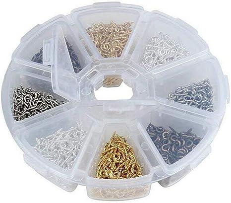 1 caja de 800 piezas de ganchos de hierro con tornillo para proyectos de manualidades/cuentas/joyas/clavos de botellas de corcho diseños creativos conectores: Amazon.es: Juguetes y juegos