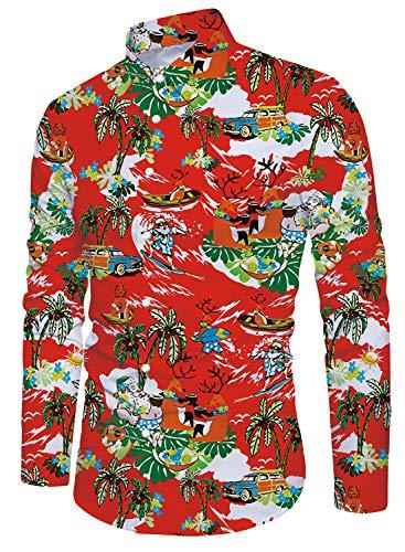 Uideazone Big Boys' Christmas Santa Claus Button Down Long Sleeve Hawaiian Shirt X-Large Christmas Long Sleeve Shirt