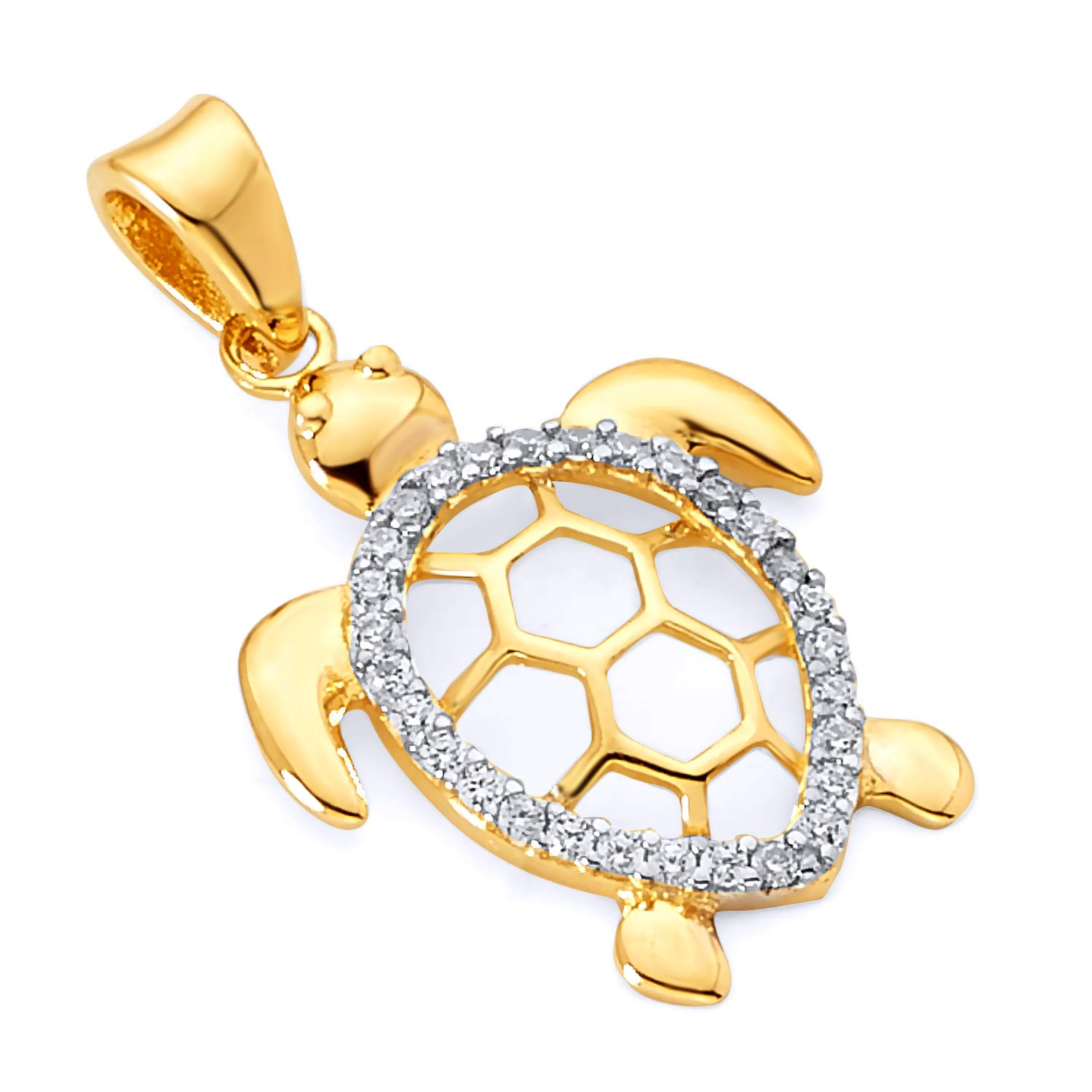 Wellingsale 14k Two 2 Tone White and Yellow Gold Turtle Pendant (Size : 24 x 14 mm)