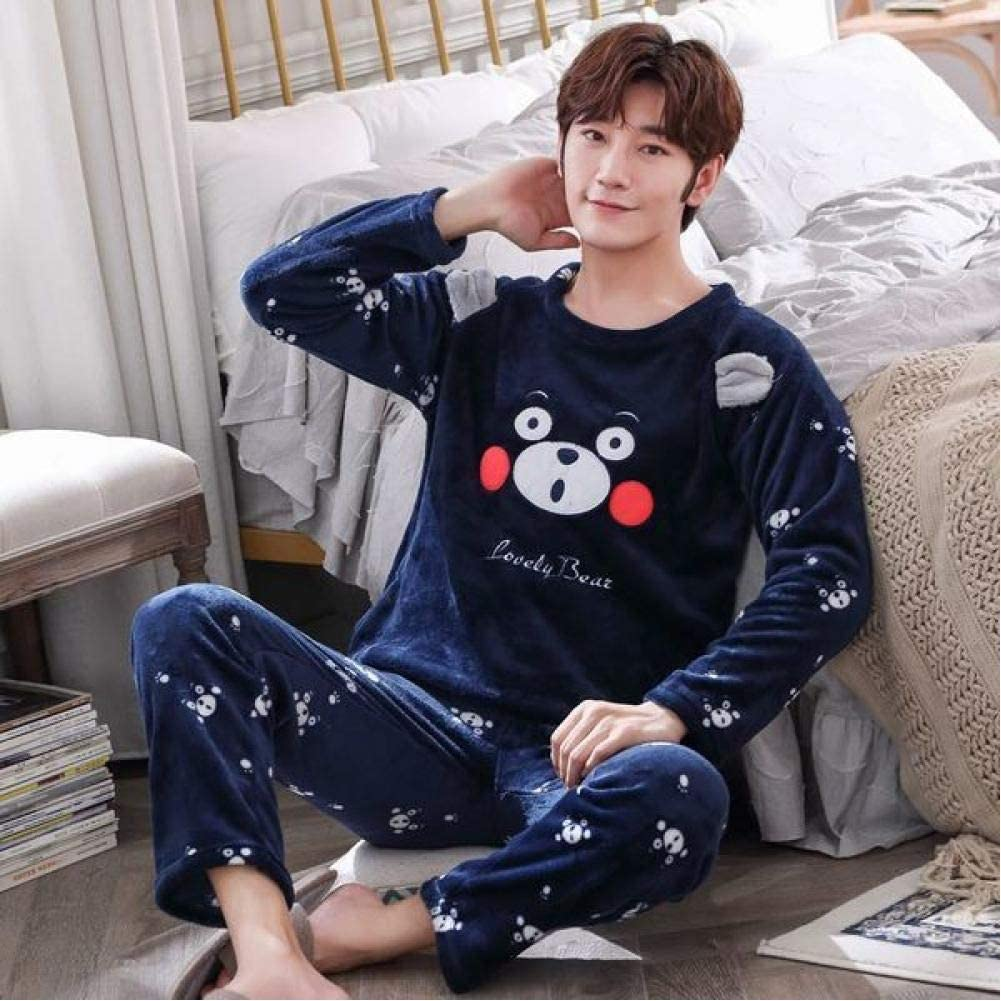 Color : Blue, Size : XL Pajamas Mens Pajamas Thick Coral Velvet Pajamas Autumn and Winter Cardigan Long-Sleeved Flannel Home Service Suit Novelty /& More