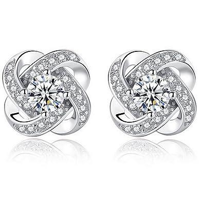 Merdia Lovely S925 Sterling Silver Cubic Zirconia Flower Stud Earring VkVpgRbT