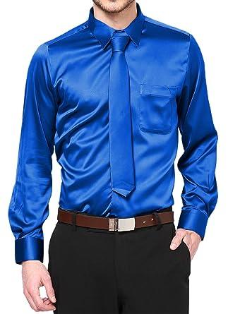 775ef920b5 Boy s Royal Blue Satin Dress Shirt Set Prom Dance Party Costume (Kid s ...