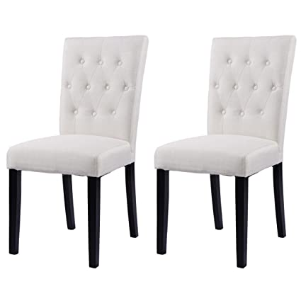 Delicieux Giantex Set Of 2 Button Tufted Fabric Dining Chairs Armless Upholstered  Chair Beige