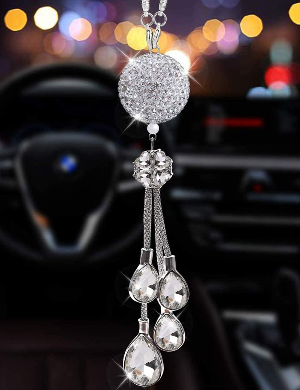 Silver Ball-White Alotex White Bling Car Rearview Mirror Accessories Hanging Car Ornaments Crystal Ball and Clear Drop Lucky Crystal Sun Catcher Ornament Cute Rear View Mirror Charm Decor Pendant