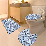 3 Piece Toilet lid cover mat set Serene with Moon Lunar and Star Holy Sky over Image Fabric Set with Hooks Blue Orang Very Absorbent Bathroom Bath Mat Contour Rug