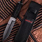 Tactical Throwing Knife with Paracord Dagger Handle - Best for Survival, Camping, Everyday Sports - Good for Fighting and Rescue Throwing - Fixed Black Blade Knife - Grand Way 7821